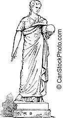estatua, de, urania, musa, de, astronomía, vendimia, grabado