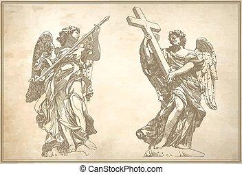 estatua, digital, dibujo, ángeles, mármol, dos