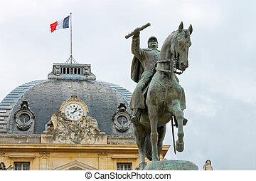 estatua ecuestre, de, marechal, joffre, en, el, campeón, de,...