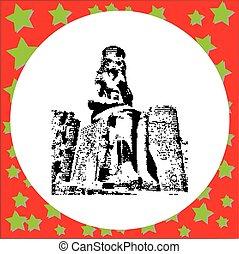 estatua, faraón, aislado, ilustración, templo, vector, fondo...