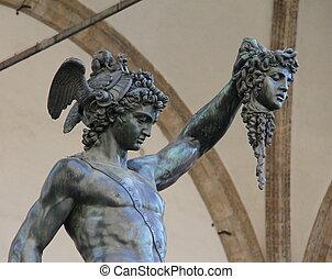 estatua, florencia, bronce, perseus.