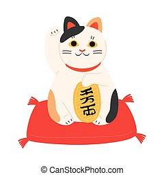 estatua, gato, levantado, japonés, maneki, pata, neko, colorido