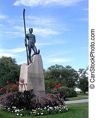 estatua, hanlan, lago, 2004, edward, toronto