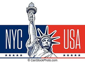 estatua liberdade, eua, símbolo, nyc