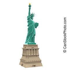 estatua, libertad, aislado