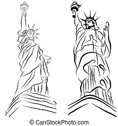 estatua, libertad, dibujos