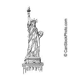 estatua, libertad, sketch.