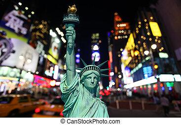 estatua, libertad, tiempos cuadran