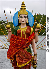 estatua, madera, mujeres, hinduismo