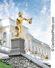estatua, petergof, santo, petersburg, rusia, perseus