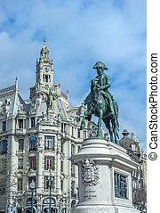estatua, portugal, rey, porto, iv, pedro