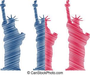 estatua, rasguño, libertad
