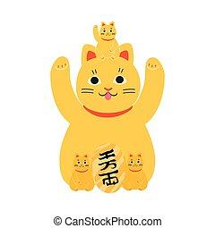 estatua, tradicional, gato, amarillo, japonés, gatitos, maneki, neko