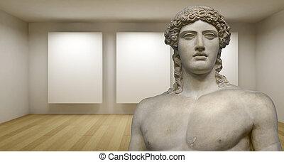 estatua, vacío, griego, sculture, antiguo, galería, habitación, 3d