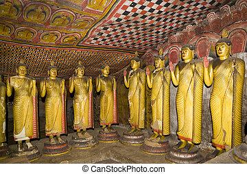 estatuas, dambulla, sri, buddha, roca, templo, lanka