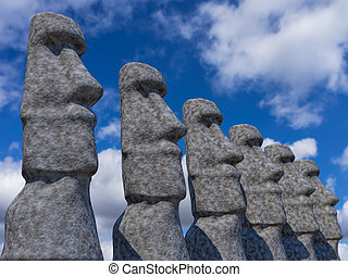 estatuas, de, isla de pascua