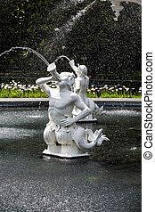 estatuas, el echar en chorro, agua, en, forsyth, parque, fuente