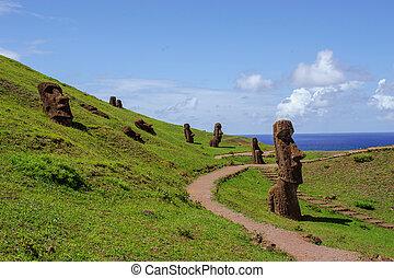 estatuas, en, isla, de, pascua., rapa, nui., isla de pascua