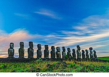 estatuas, isla, ahu, pascua, tongariki, salida del sol
