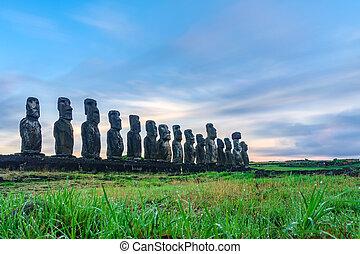 estatuas, moai, isla, ahu, pascua, tongariki, salida del sol