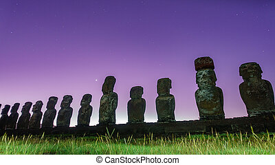 estatuas, moai, isla, amanecer, estrellas, ahu, pascua,...