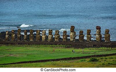 estatuas, moai, isla, turistas, ahu, distancia., tongariki,...
