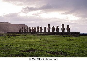 Estatuas,  nui, isla,  De,  pascua,  ISLA,  rapa, Pascua