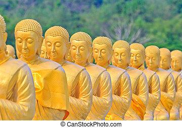estatuas, oro, , buddha, tailandia, buddha