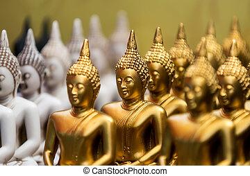 estatuas, oro, cara, buddh, buddha