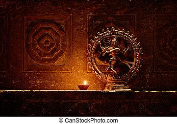 estatueta, dançar., deus, shiva, índia, udaipur