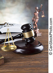 estatueta, justiça, juiz, livro, fundo, gavel, lei