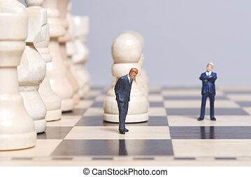 &, estatueta, pedaços xadrez