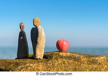 estatuetas, maçã
