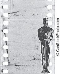 estatuilla, vector, viejo, película, plano de fondo