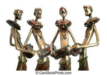 estatuillas, tenencia, tambores, africano