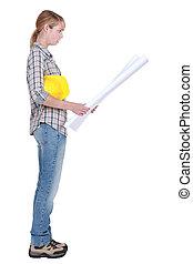 estava pé, planos, trabalhador, construção, femininas, leitura