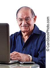 este, computadora, indio, hombre