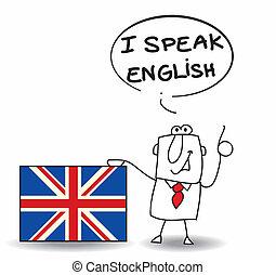 este, homem negócios, falar, inglês