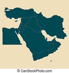 este, mapa, vector, medio, límites, ilustración