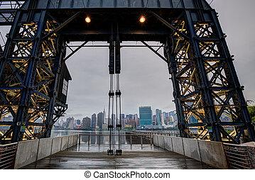 este, nublado, contorno, york, nuevo, río, manhattan