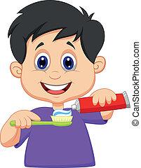 este prego, dente, espremer, pasta, caricatura, criança