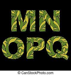 este prego, letras, n, ornament., m, caps., gota, pattern., herbário, capital, floral, elegante, decorado, fonte, q, p