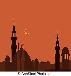 este, pueblo, y, mezquita, en, sunset., ramadan., imagen