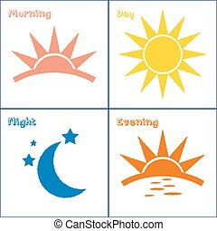este, reggel, állhatatos, éjszaka, nap, ikon