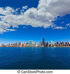 este, soleado, contorno, york, nuevo, nyc, río, manhattan