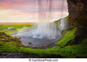 este, színes, középső, waterfall., seljalandfoss, híres, kilátás