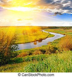este, zöld folyó, kaszáló