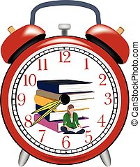 estela, estudio, tiempo, niña, arriba, libro