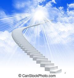 estender, escada, céu branco, luminoso
