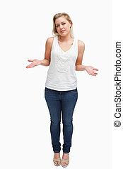 estender, loiro, mulher, dela, forearms